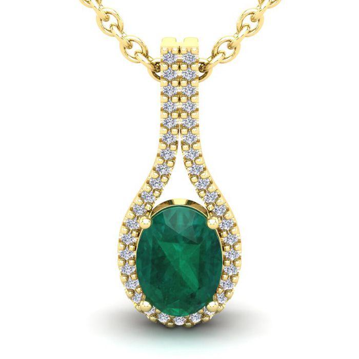 1 1/3 Carat Oval Shape Emerald and Halo Diamond Necklace In 14 Karat Yellow ..