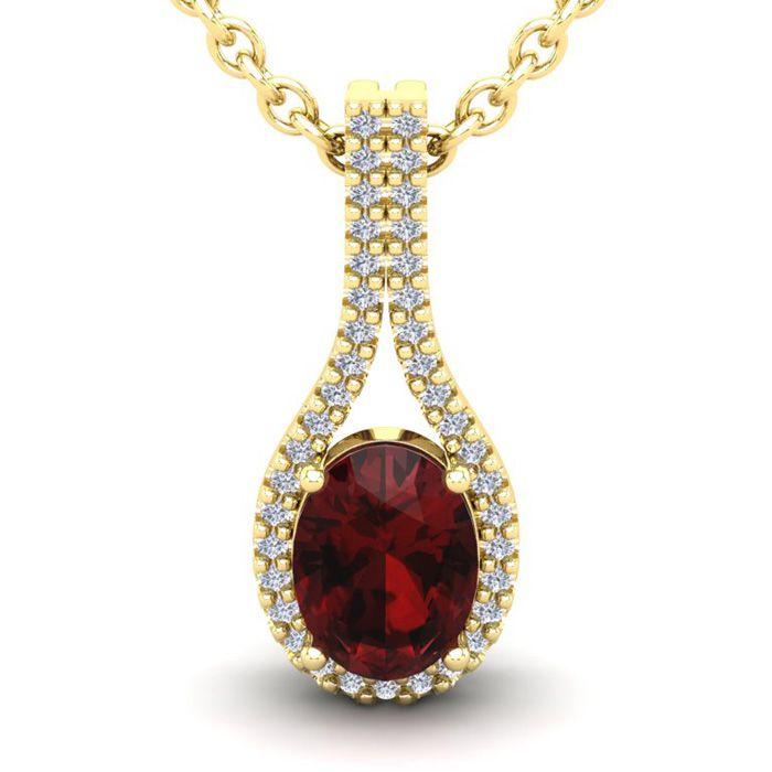 1 3/4 Carat Oval Shape Garnet and Halo Diamond Necklace In 14 Karat Yellow G..