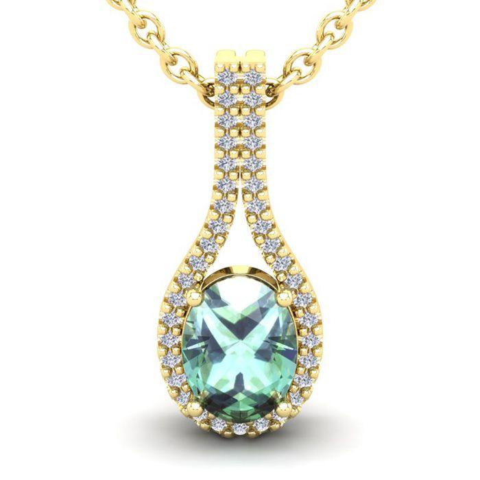 1 1/4 Carat Oval Shape Green Amethyst and Halo Diamond Necklace In 14 Karat ..