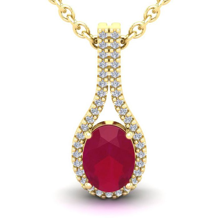 1 3/4 Carat Oval Shape Ruby and Halo Diamond Necklace In 14 Karat Yellow Gol..