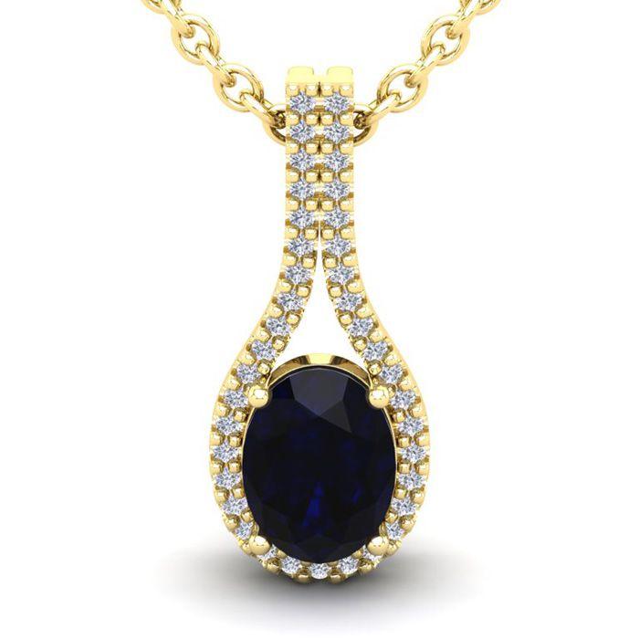 1 3/4 Carat Oval Shape Sapphire and Halo Diamond Necklace In 14 Karat Yellow..