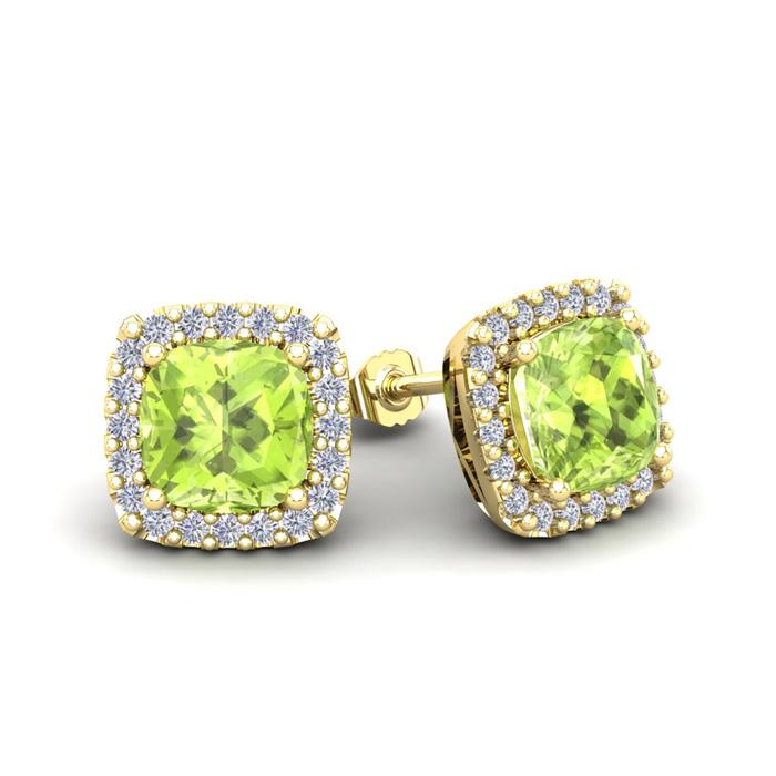 2 1/3 Carat Cushion Cut Peridot and Halo Diamond Stud Earrings In 14 Karat Y..