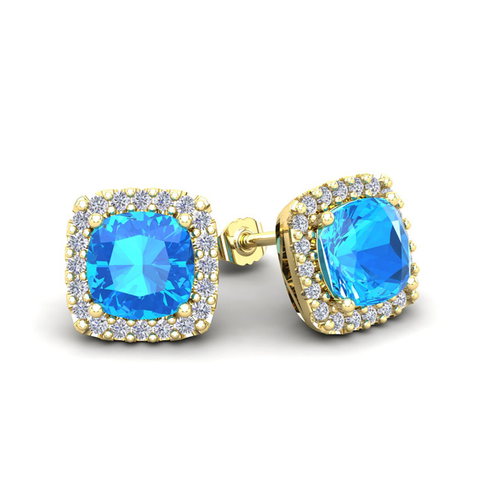 2 1/2 Carat Cushion Cut Blue Topaz and Halo Diamond Stud Earrings In 14 Kara..