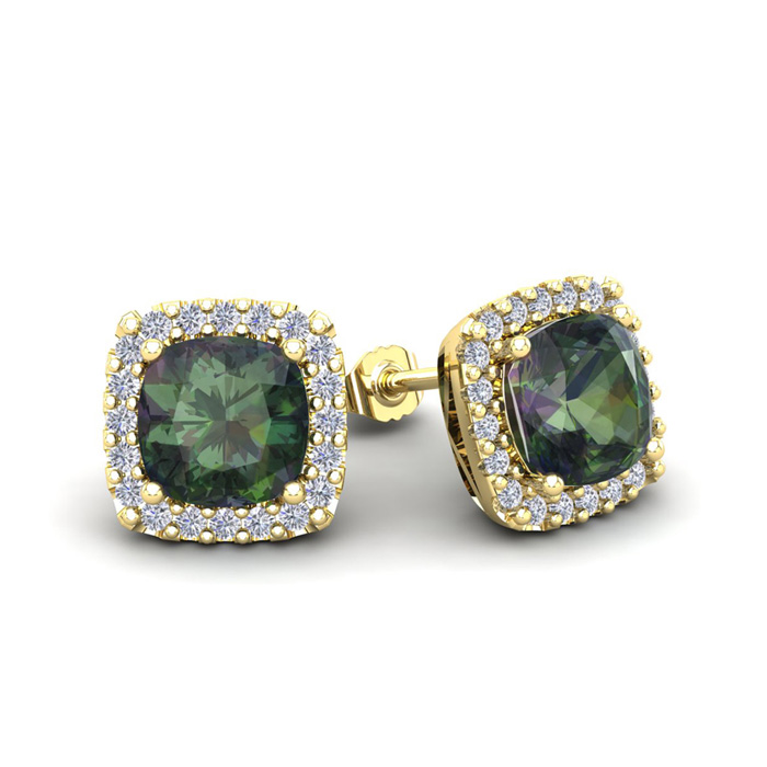 2 1/2 Carat Cushion Cut Mystic Topaz and Halo Diamond Stud Earrings In 14 Ka..