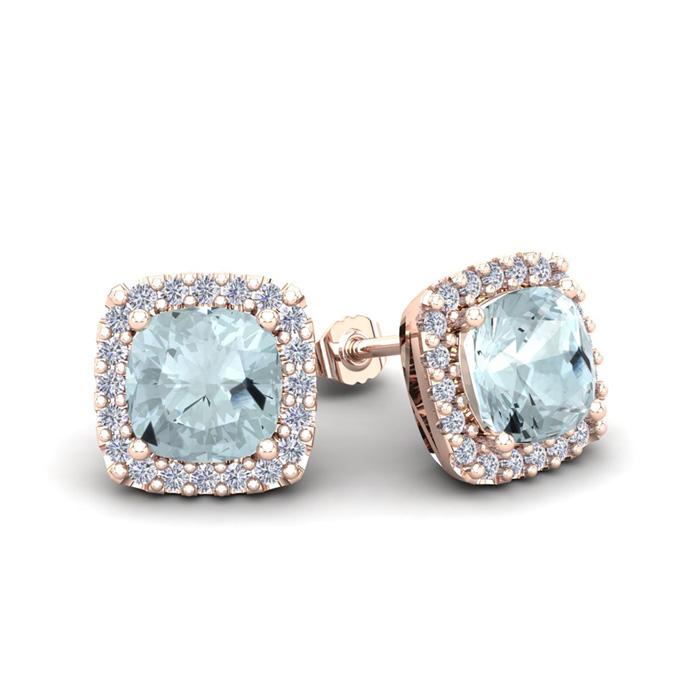 1 1/2 Carat Cushion Cut Aquamarine and Halo Diamond Stud Earrings In 14 Kara..