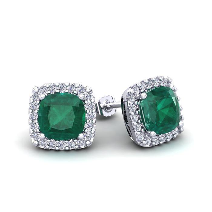 2 1/2 Carat Cushion Cut Emerald and Halo Diamond Stud Earrings In 14 Karat W..