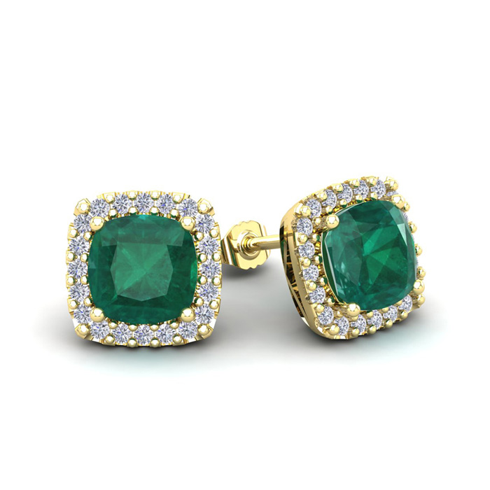 2 1/2 Carat Cushion Cut Emerald and Halo Diamond Stud Earrings In 14 Karat Y..