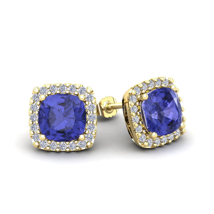 2 1/4 Carat Cushion Cut Tanzanite and Halo Diamond Stud Earrings In 14 Karat..