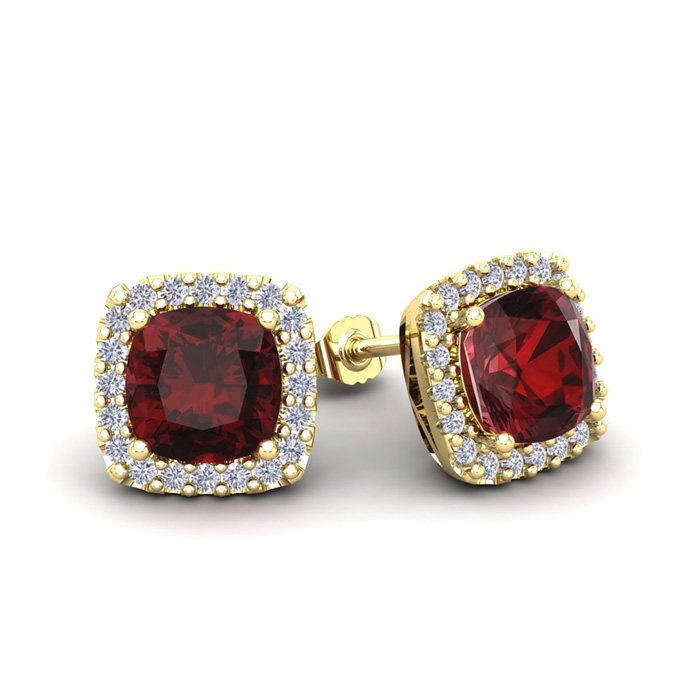 2 1/2 Carat Cushion Cut Garnet and Halo Diamond Stud Earrings In 14 Karat Ye..