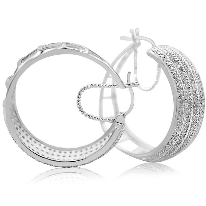 2 Carat Five Row Diamond Hoop Earrings , 1 1/2 Inches