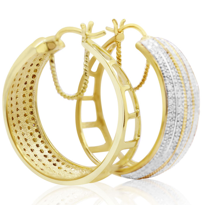 2 Carat Five Row Diamond Hoop Earrings, 1 1/2 Inches