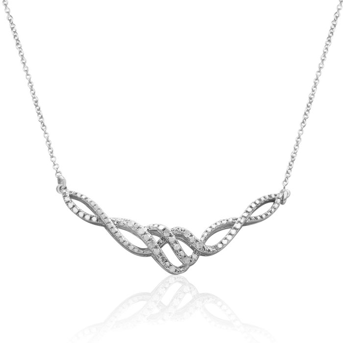 Sterling Silver 0.15ct Diamond Designer Infinity Necklace, 16 Inches