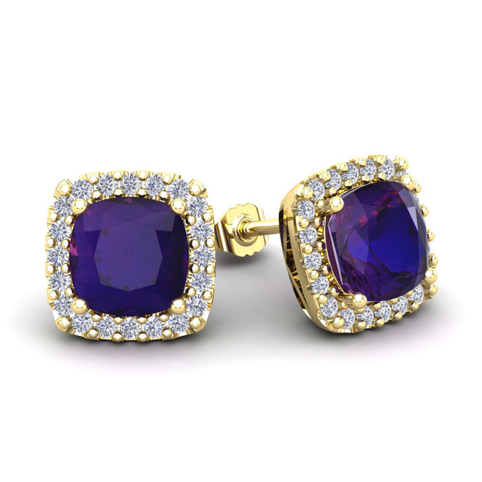 3 1/2 Carat Cushion Cut Amethyst and Halo Diamond Stud Earrings In 14 Karat ..