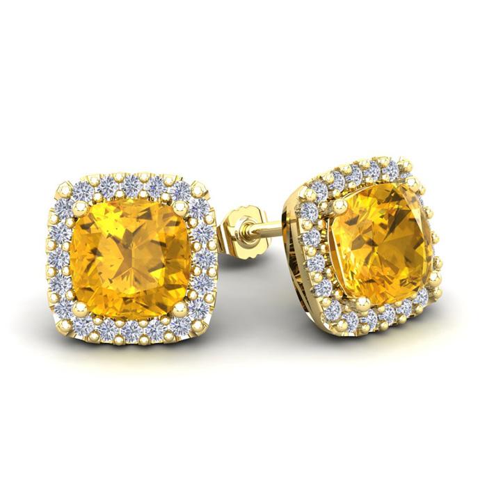 3 1/2 Carat Cushion Cut Citrine and Halo Diamond Stud Earrings In 14 Karat Y..