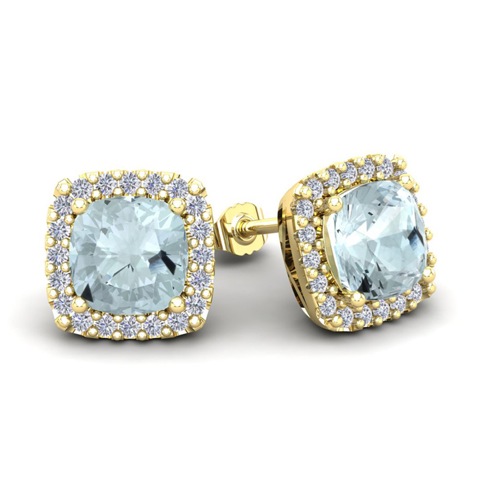 3 1/2 Carat Cushion Cut Aquamarine and Halo Diamond Stud Earrings In 14 Kara..