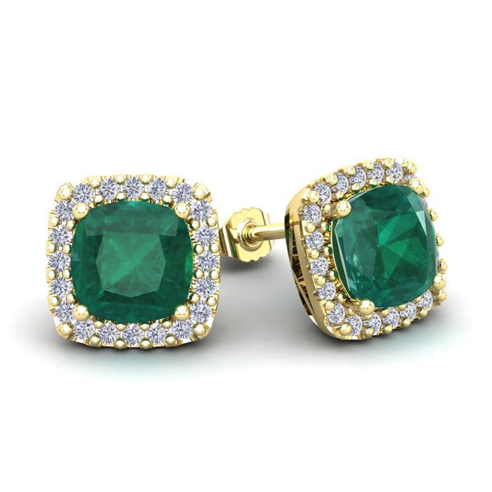 3 1/2 Carat Cushion Cut Emerald and Halo Diamond Stud Earrings In 14 Karat Y..