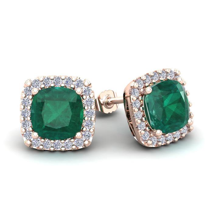 3 1/2 Carat Cushion Cut Emerald and Halo Diamond Stud Earrings In 14 Karat R..