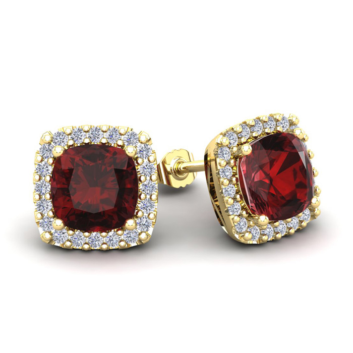 3 1/2 Carat Cushion Cut Garnet and Halo Diamond Stud Earrings In 14 Karat Ye..