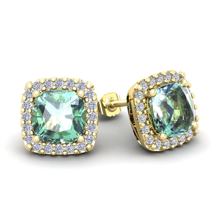 3 1/2 Carat Cushion Cut Green Amethyst and Halo Diamond Stud Earrings In 14 ..