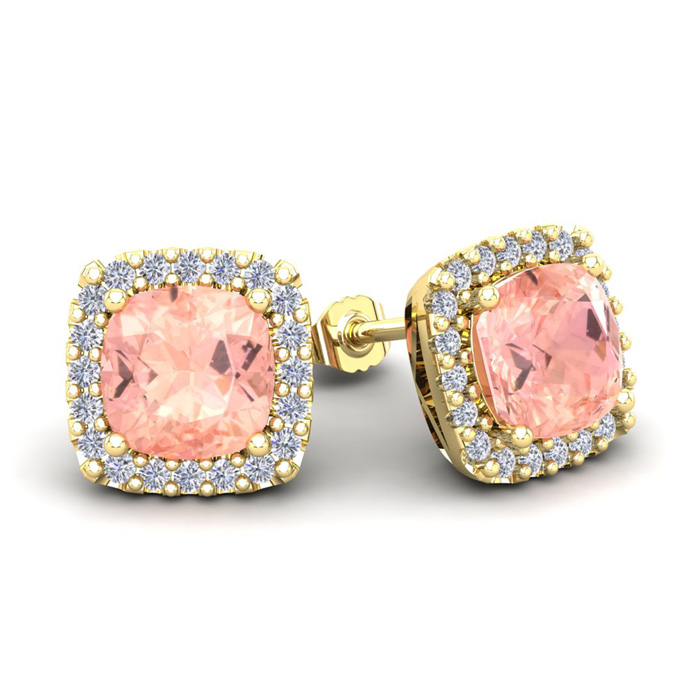 3 1/2 Carat Cushion Cut Morganite and Halo Diamond Stud Earrings In 14 Karat..
