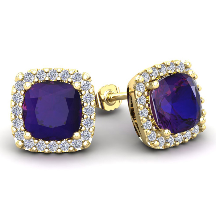 4 3/4 Carat Cushion Cut Amethyst and Halo Diamond Stud Earrings In 14 Karat ..