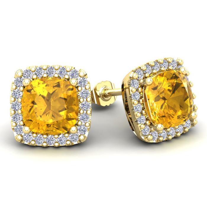 4 3/4 Carat Cushion Cut Citrine and Halo Diamond Stud Earrings In 14 Karat Y..