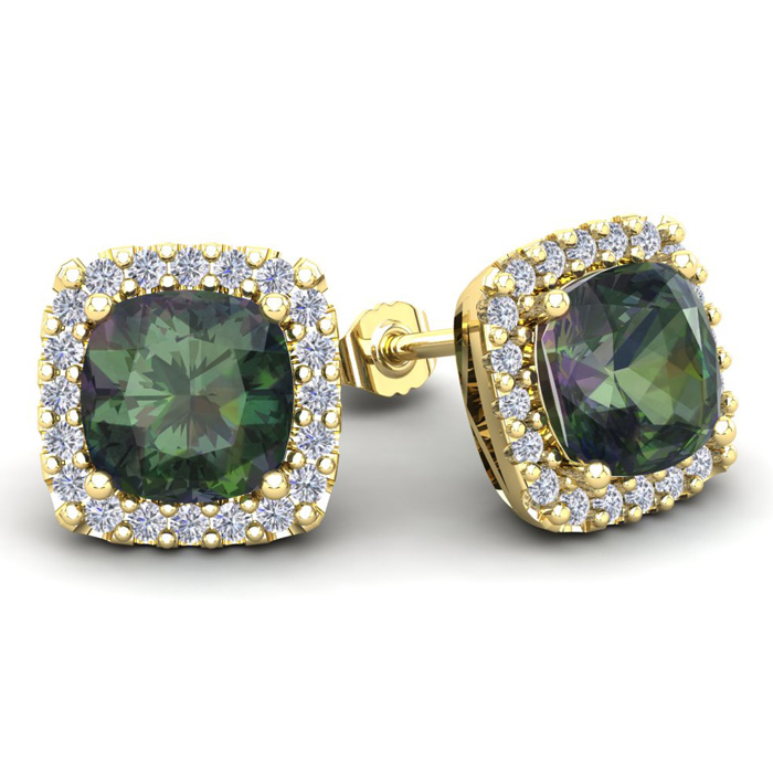 4 3/4 Carat Cushion Cut Mystic Topaz and Halo Diamond Stud Earrings In 14 Ka..