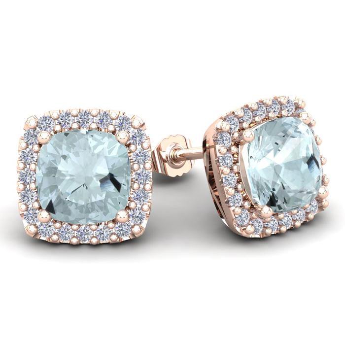 4 3/4 Carat Cushion Cut Aquamarine and Halo Diamond Stud Earrings In 14 Kara..