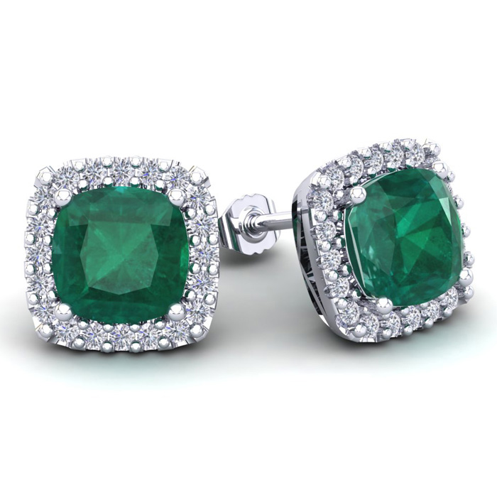 4 3/4 Carat Cushion Cut Emerald And Halo Diamond Stud Earrings In 14 Karat White Gold