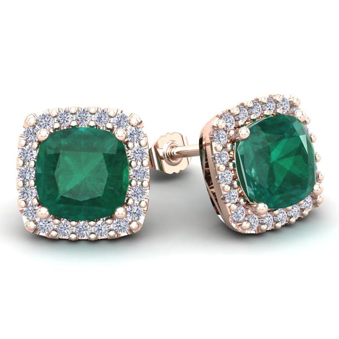 4 3/4 Carat Cushion Cut Emerald and Halo Diamond Stud Earrings In 14 Karat R..