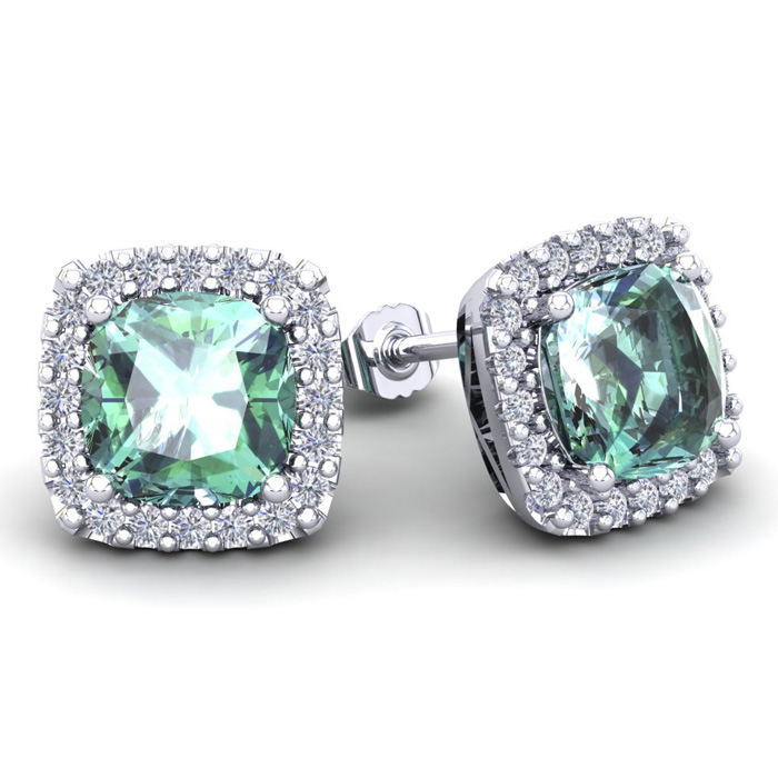 4 3/4 Carat Cushion Cut Green Amethyst And Halo Diamond Stud Earrings In 14 Karat White Gold