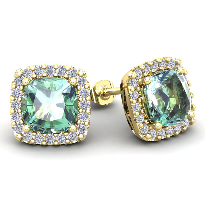 4 3/4 Carat Cushion Cut Green Amethyst and Halo Diamond Stud Earrings In 14 ..