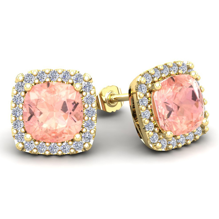 6 3/4 Carat Cushion Cut Morganite and Halo Diamond Stud Earrings In 14 Karat..