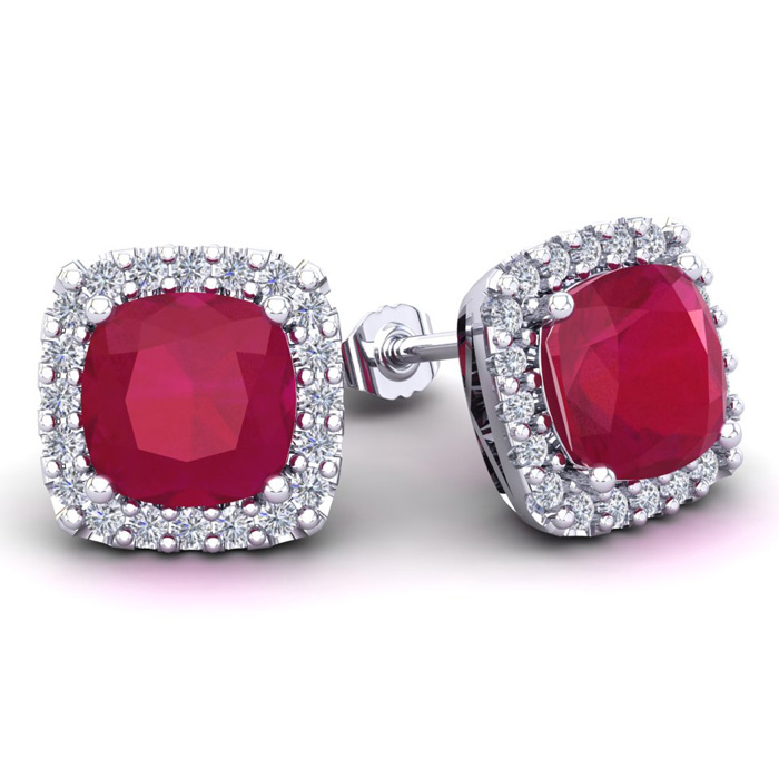 6 3/4 Carat Cushion Cut Ruby And Halo Diamond Stud Earrings In 14 Karat White Gold