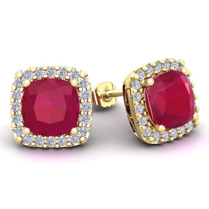 6 3/4 Carat Cushion Cut Ruby and Halo Diamond Stud Earrings In 14 Karat Yell..