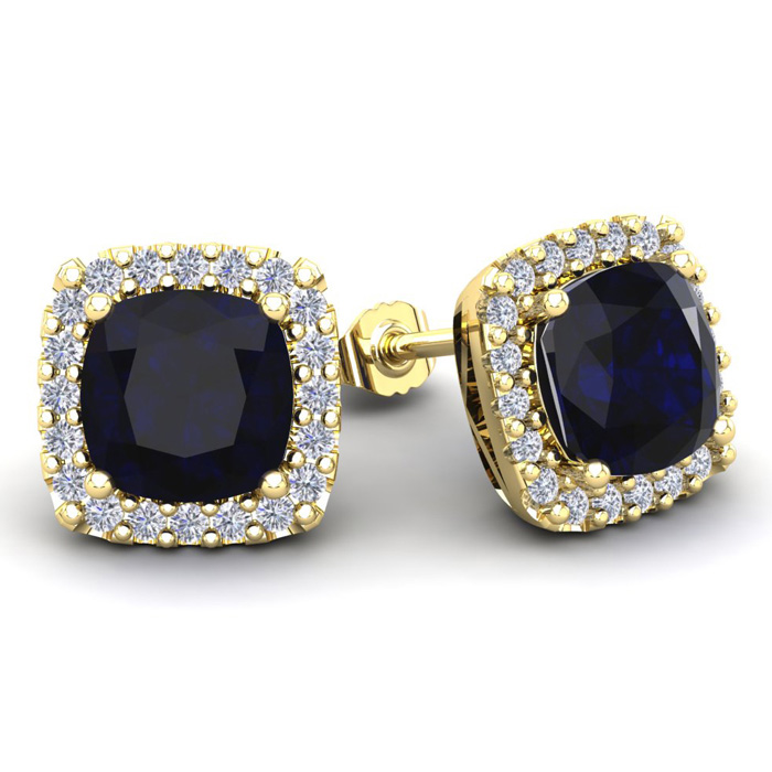 6 3/4 Carat Cushion Cut Sapphire and Halo Diamond Stud Earrings In 14 Karat ..