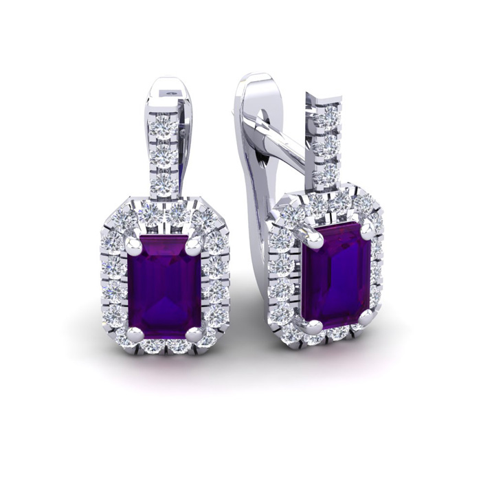 1 1/2 Carat Emerald Cut Amethyst and Halo Diamond Dangle Earrings In 14 Kara..