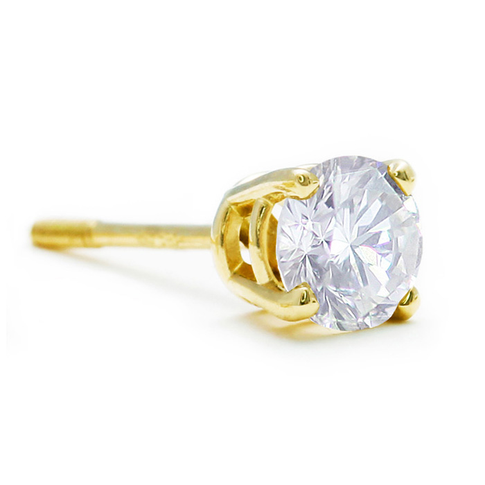 Single 1/4ct Diamond Stud in 10k Yellow Gold