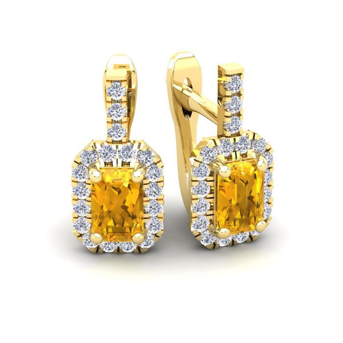 1 1/2 Carat Emerald Cut Citrine and Halo Diamond Dangle Earrings In 14 Karat..