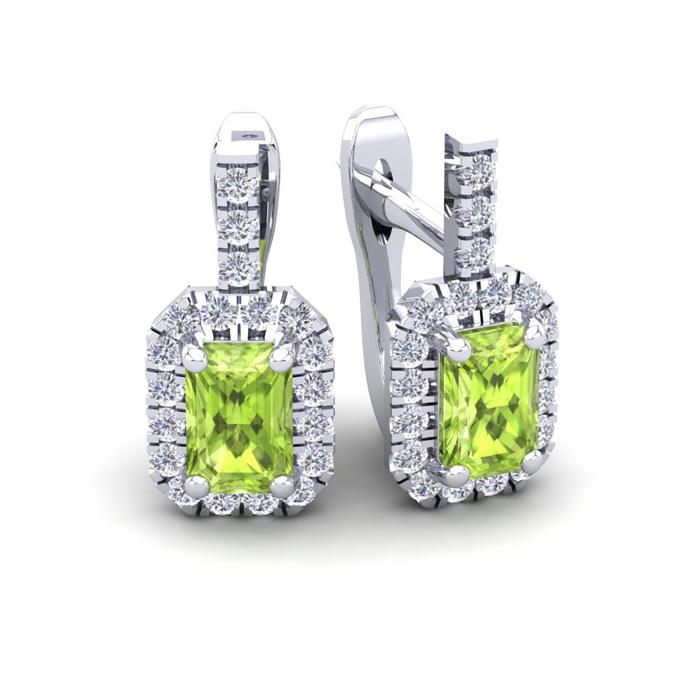 1 3/4 Carat Emerald Cut Peridot and Halo Diamond Dangle Earrings In 14 Karat..