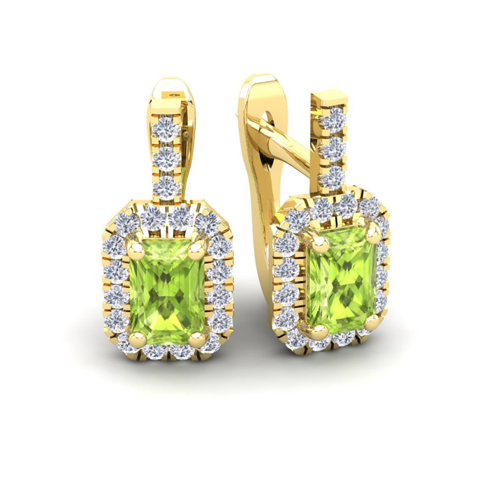 1 3/4 Carat Emerald Cut Peridot and Halo Diamond Dangle Earrings In 14 Karat..