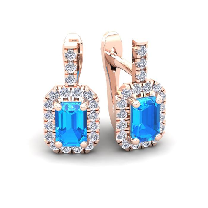 1 3/4 Carat Emerald Cut Blue Topaz and Halo Diamond Dangle Earrings In 14 Ka..
