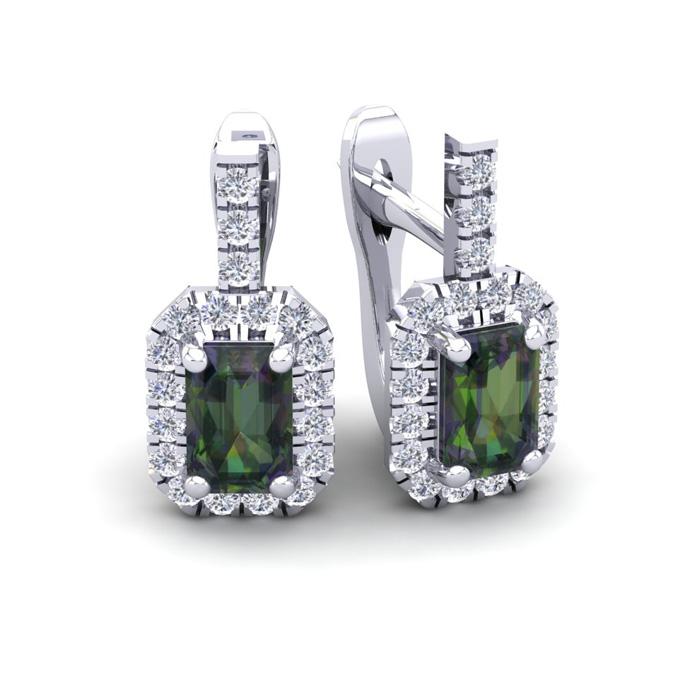 1 3/4 Carat Emerald Cut Mystic Topaz and Halo Diamond Dangle Earrings In 14 ..