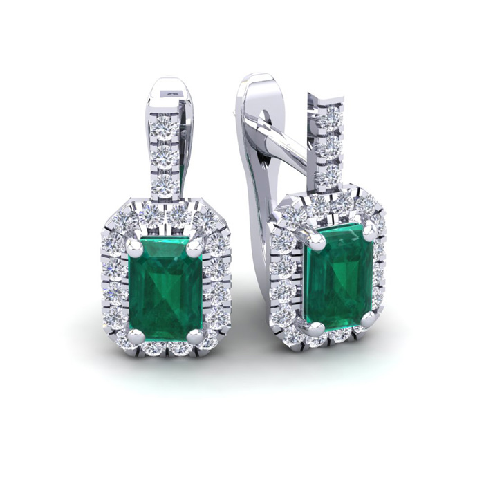 1 3/4 Carat Emerald Cut Emerald and Halo Diamond Dangle Earrings In 14 Karat..