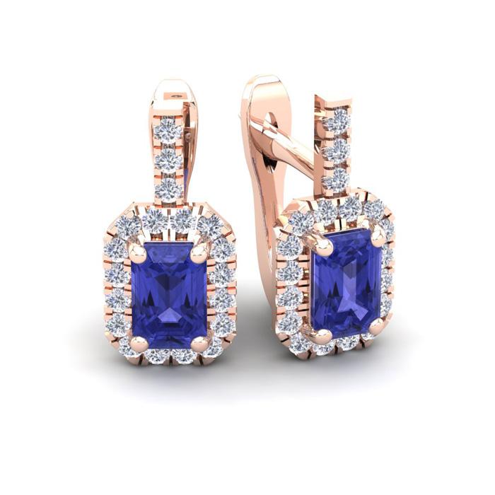 1 3/4 Carat Emerald Cut Tanzanite and Halo Diamond Dangle Earrings In 14 Kar..