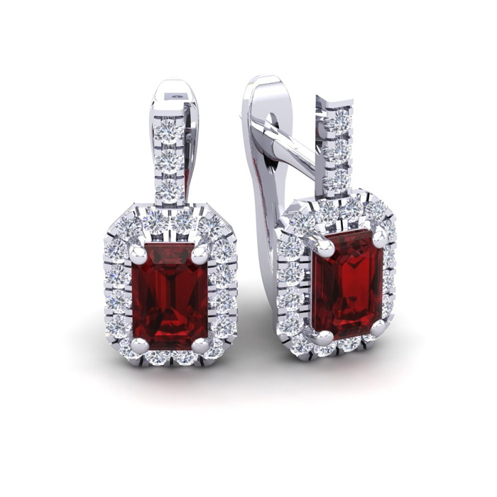 2 Carat Emerald Cut Garnet and Halo Diamond Dangle Earrings In 14 Karat Whit..