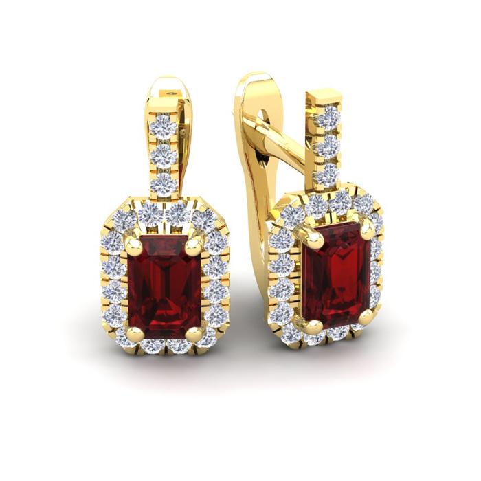 2 Carat Emerald Cut Garnet and Halo Diamond Dangle Earrings In 14 Karat Yell..