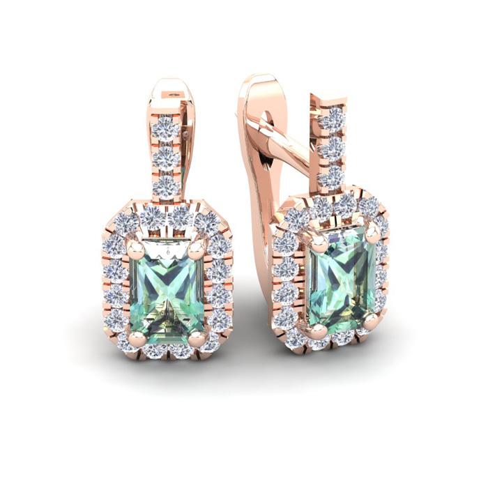 1 1/2 Carat Emerald Cut Green Amethyst and Halo Diamond Dangle Earrings In 1..