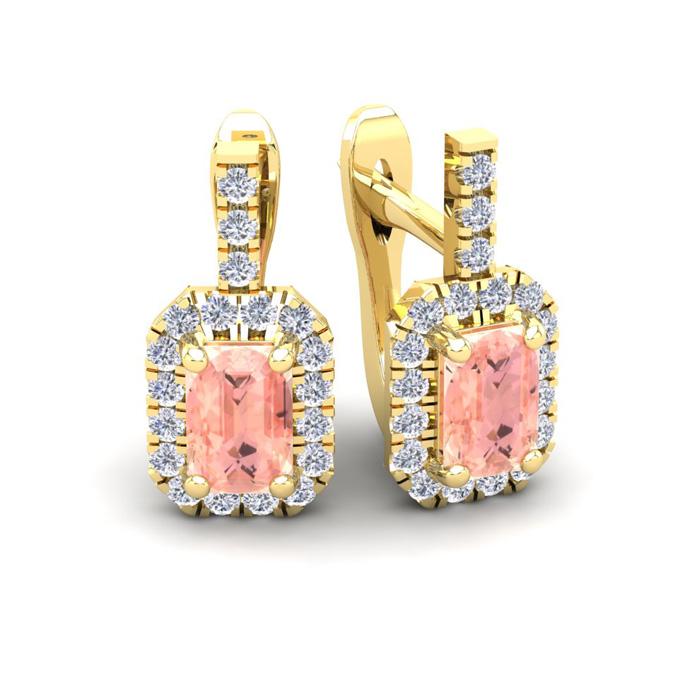1 3/4 Carat Emerald Cut Morganite and Halo Diamond Dangle Earrings In 14 Kar..