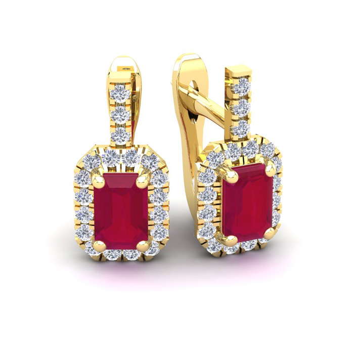 2 Carat Emerald Cut Ruby and Halo Diamond Dangle Earrings In 14 Karat Yellow..